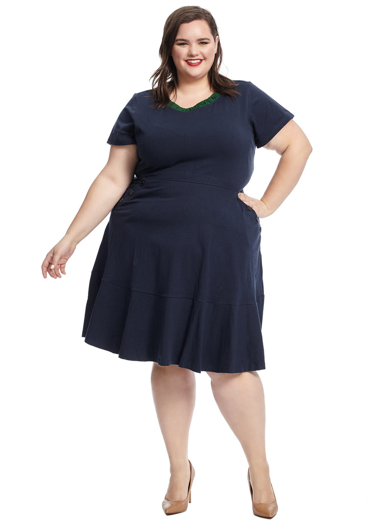 Button Detail Navy Fit And Flare Dress