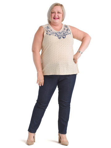 Applique Yoke Beige Tank
