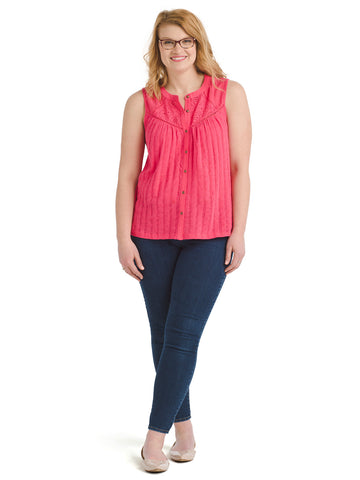 Eyelet Yoke Raspberry Top