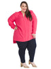 Split Neck Hi-Lo Pink Tunic