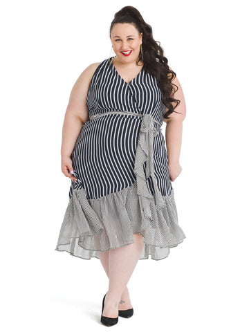 Mixed Stripe Ruffle Front Dress