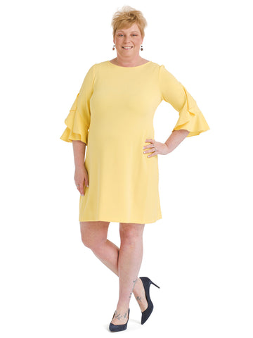 Bell Sleeve Lemon Shift Dress