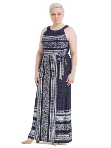 Navy Mixed Print Maxi Dress