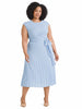 Sky Blue Pleated Faux Wrap Dress