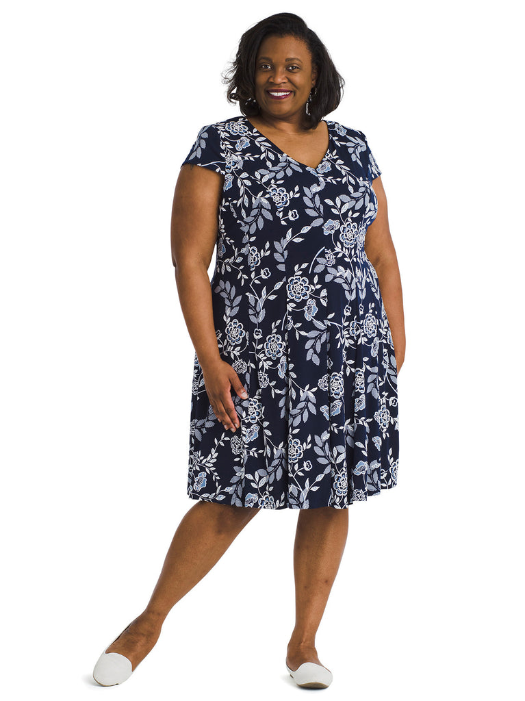 Navy Floral Fit And Flare Dress