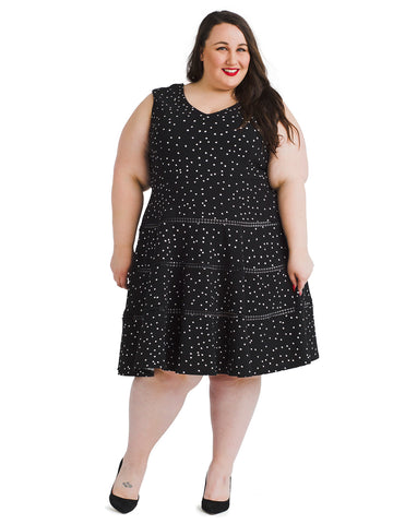 Polka Dot Seamed Fit And Flare Dress