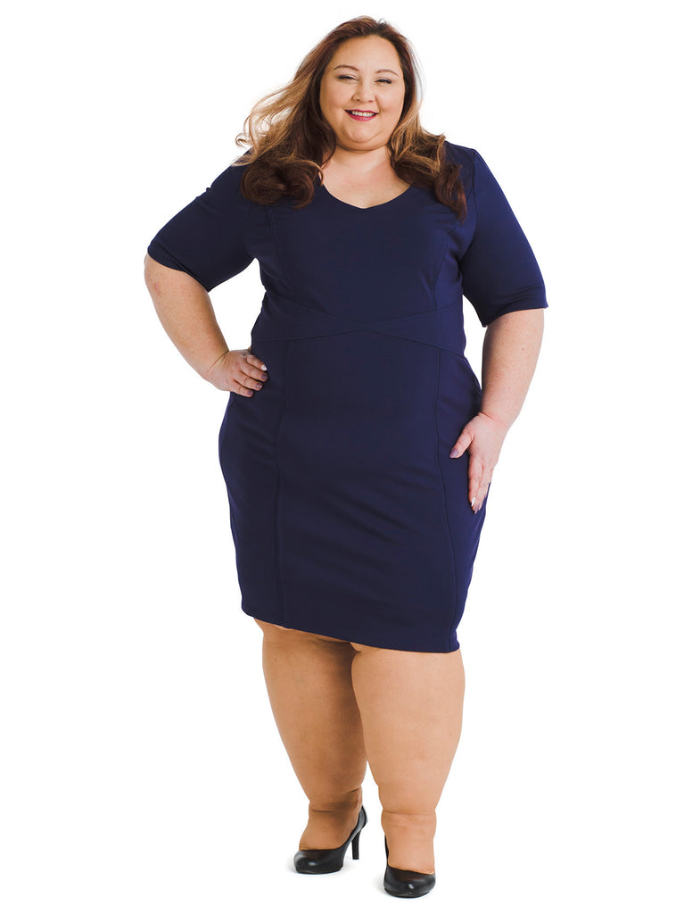 Navy Nine To Five Sheath Dress
