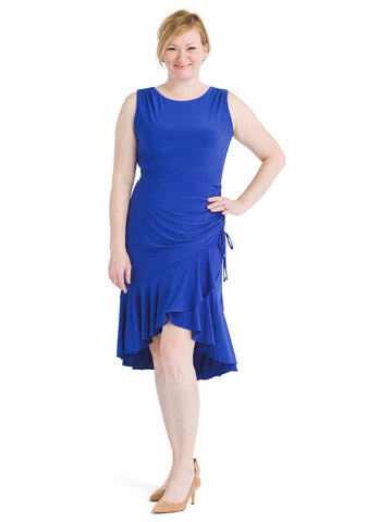 Side Ruched Cobalt Dress