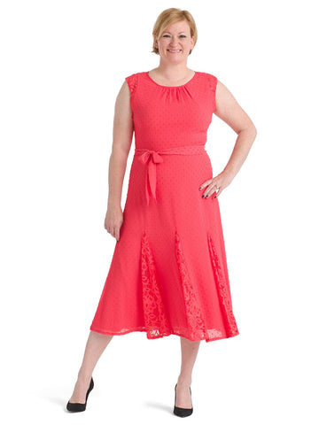 Swiss Dot Peony Lace Paneled Dress