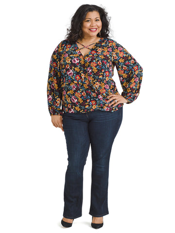 Multi Floral Envelope Blouse
