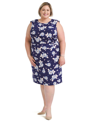 Cap Sleeve Blue Floral Sheath Dress
