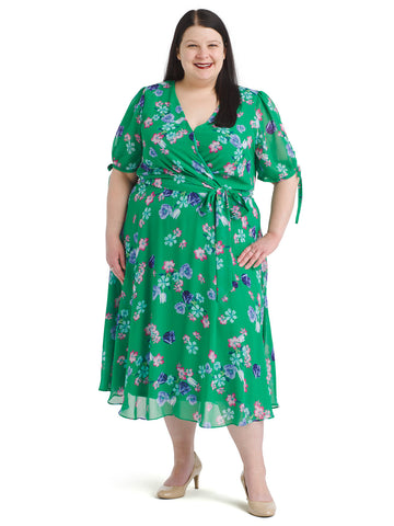 Green Floral Tie Sleeve Faux Wrap Dress