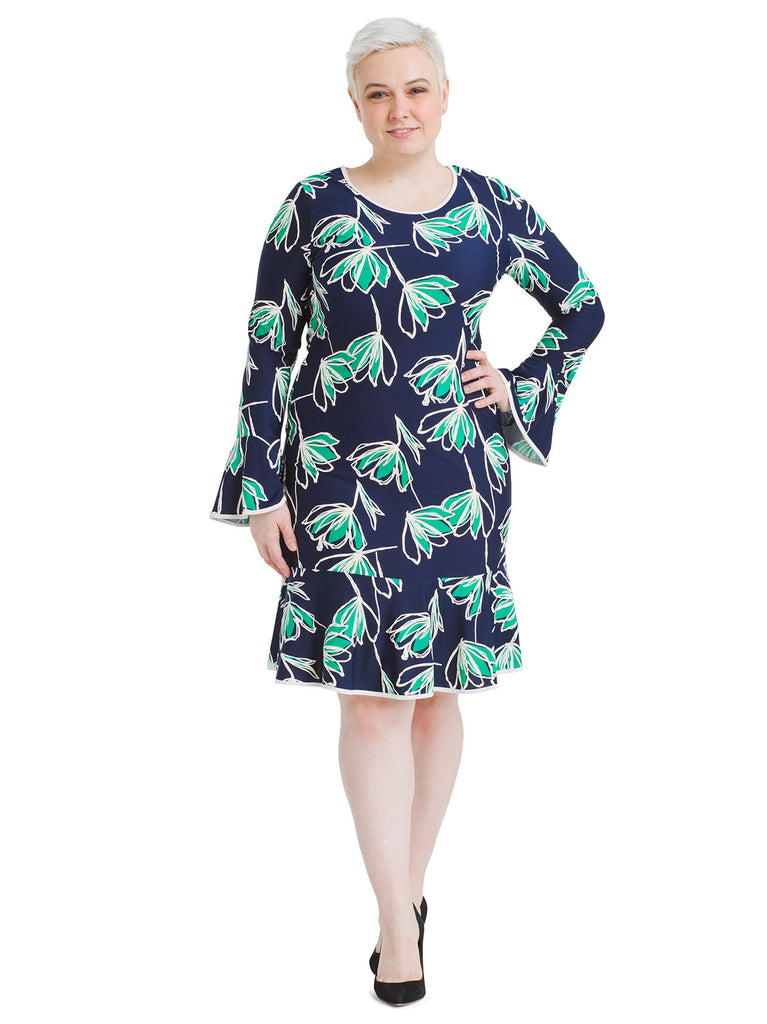 Bell Sleeve Navy Floral Dress