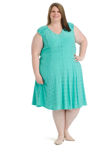 Teal Embellished Jersey Fit and Flare Dress