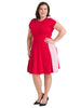 Color Block Red Fit And Flare Dress