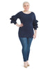 Ruffle Sleeve Navy Top