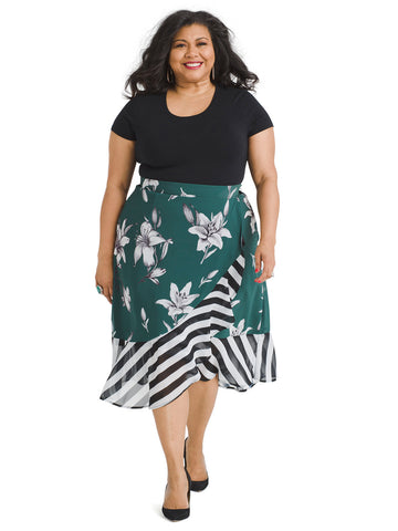 Floral And Stripe Green Skirt