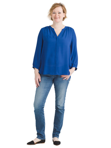 Alpine Lake Blue Pintuck Blouse