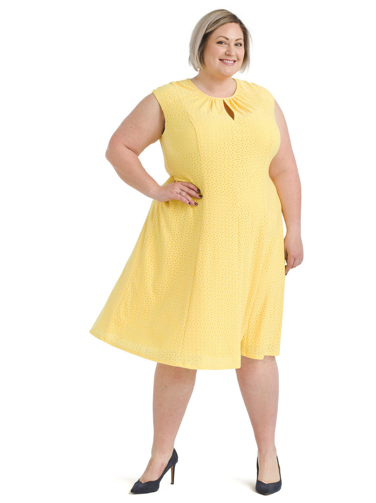 Yellow Eyelet Fit And Flare Dress