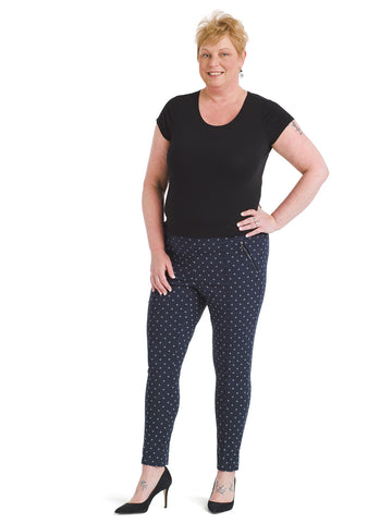 Navy Print Alexa Pull-On Ankle Pants