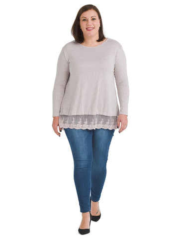 Lace Trim Mauve Chalk Pullover