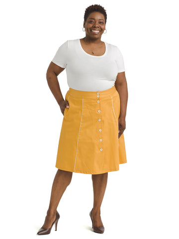 Mustard Button-Front Skirt