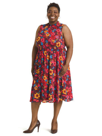 Multi Floral Smocked Waist Midi Dress