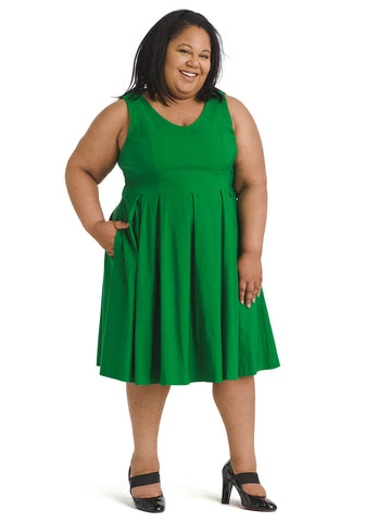 Amazon Green Pleated Fit and Flare Dress