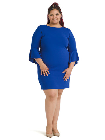 Bell Sleeve Blue Sheath Dress