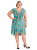 Tiered Ruffle Teal Tropical Fit And Flare Dress