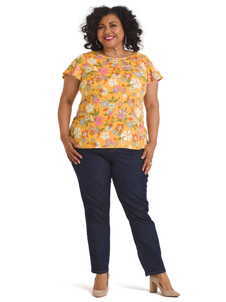 Mustard Floral Keyhole Top