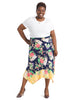 Tossed Floral Printed Asymmetrical Skirt