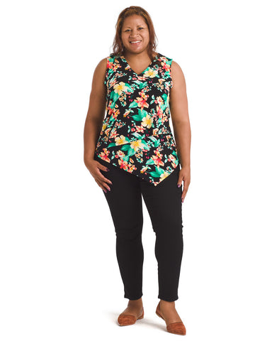 Tropical Floral Asymmetrical Top