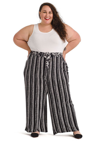 Cropped Stripe Wide-Leg Soft Pants