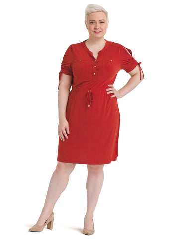 Chili Powder Knit Shirt Dress