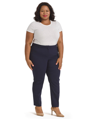 Navy Satin Twill Ankle Pants