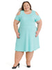 Cold Shoulder Aqua Fit And Flare Dress