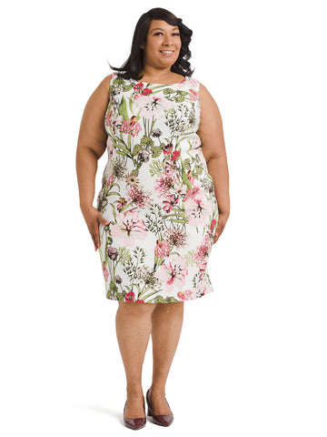 Sleeveless Botanical Floral Shift Dress