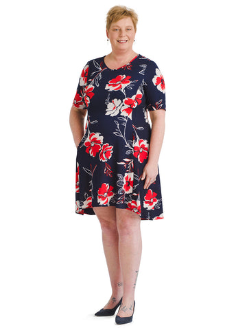 Floral Printed Scuba Fit And Flare Dress