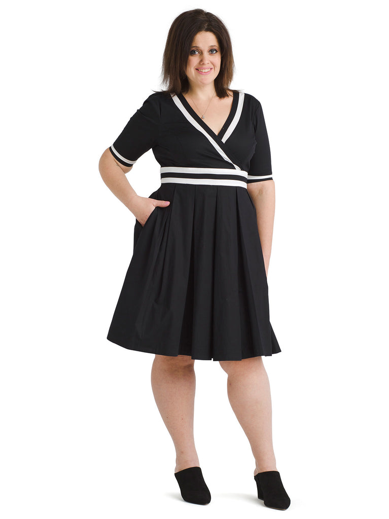White Trim Black Fit And Flare Dress
