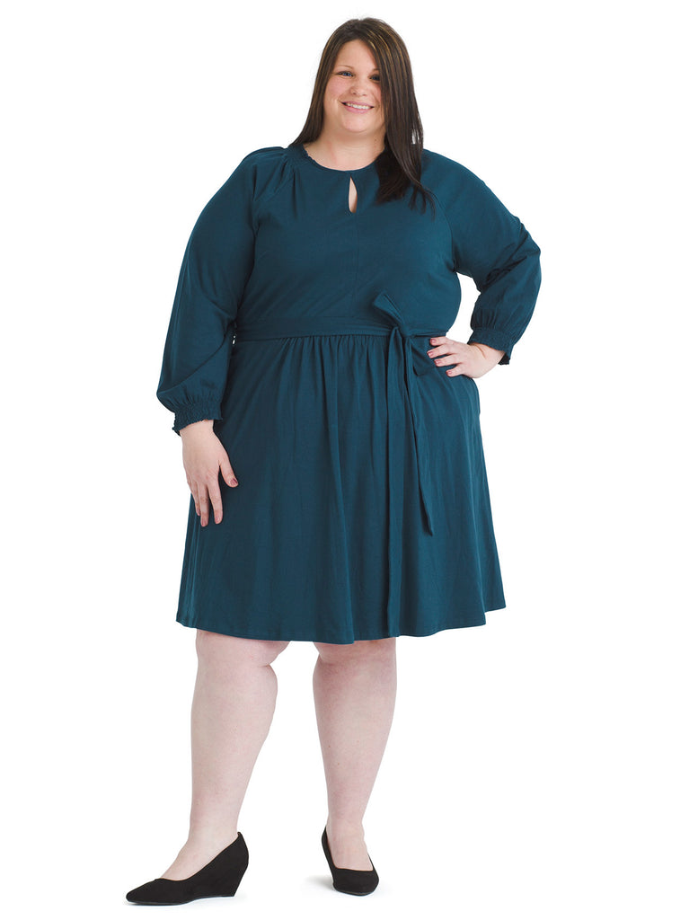 Front Keyhole Teal Fit And Flare Dress