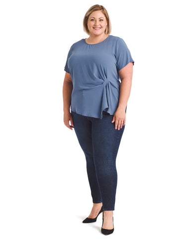 Dusty Blue Side Gather Asymmetrical Hem Top