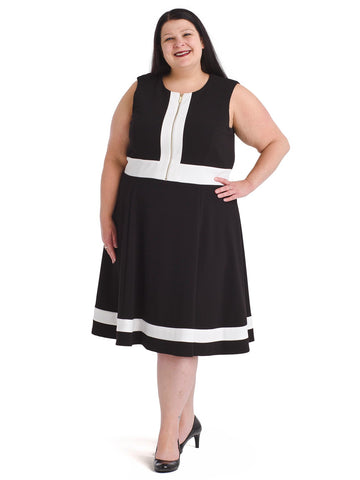 Color Block Front Zip Fit And Flare Dress