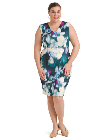 Abstract V-Neck Sheath Dress