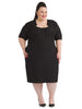Notch Neck Black Sheath Dress