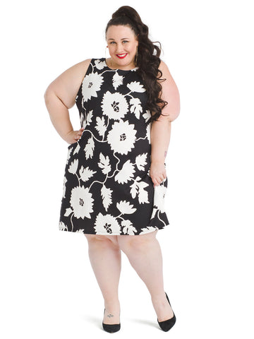 Puff Floral Scuba Shift Dress