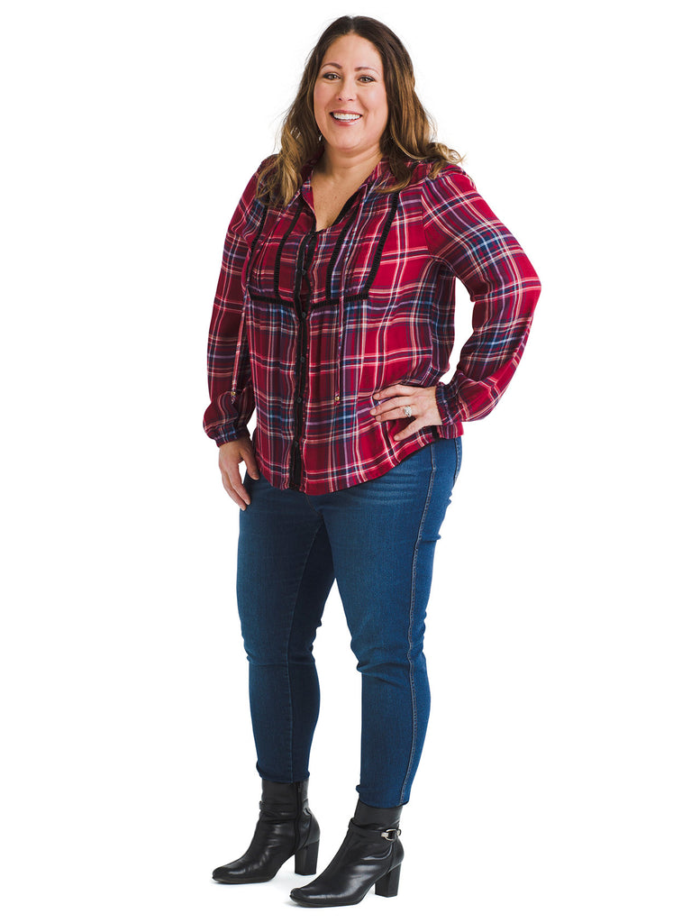 Plaid Divine Rayon Blouse