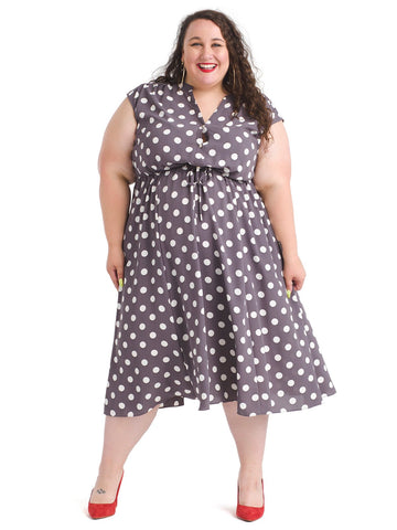 Dot Print Cap Sleeve Drawstring Midi Dress