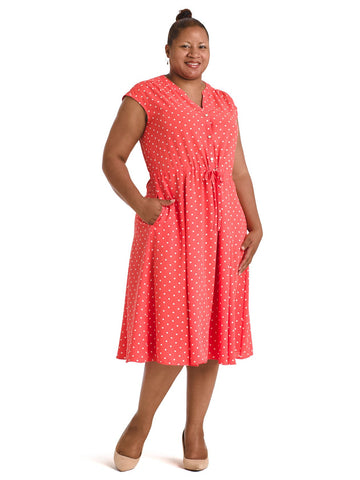 Polka Dot Coral Drawstring Midi Dress