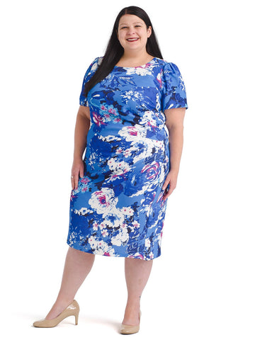Short Sleeve Side Drape Floral Sheath Dress